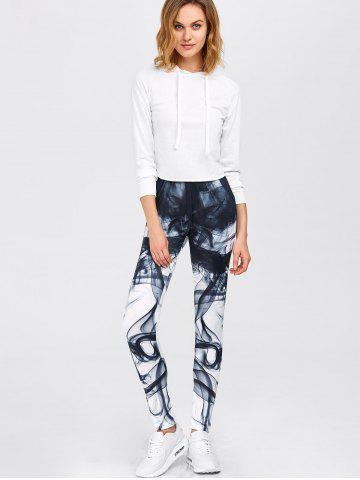 Sale Chinese Painting Print Gym Sports Leggings - S WHITE Mobile