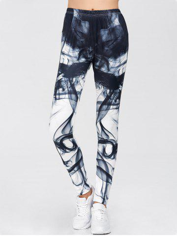 New Chinese Painting Print Gym Sports Leggings - S WHITE Mobile