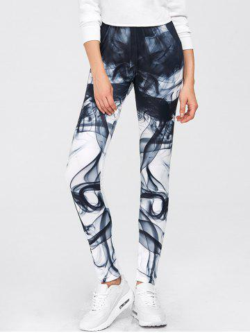Outfits Chinese Painting Print Gym Sports Leggings - S WHITE Mobile