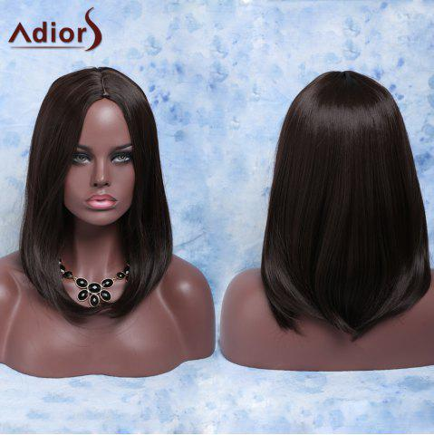 Unique Fashion Medium Straight Deep Brown Centre Parting Women's Synthetic Hair Wig