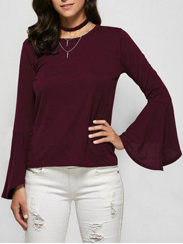 New Flare Sleeve Jewel Neck Tee BURGUNDY 2XL