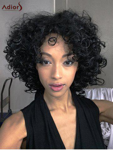 Unique Adiors Medium Afro Curly Side Bang Synthetic Wig BLACK