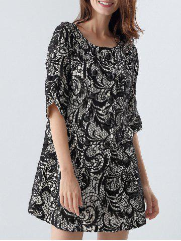 Online Lace Panel Double-Breasted Coat