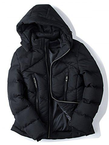 Affordable Zippered Pocket Hooded Padded Jacket