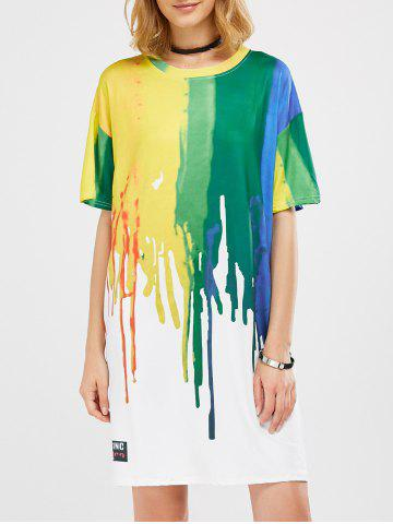 Fancy Splatter Paint T-Shirt Dress COLORMIX XL