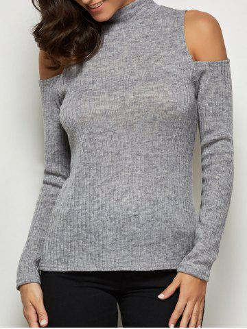 Chic Mock Neck Open Shoulder Knitted Top GRAY XL