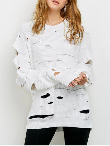 Buy Crew Neck Cut Out Sweater - M WHITE Mobile