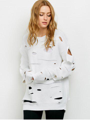 Chic Crew Neck Cut Out Sweater - M WHITE Mobile