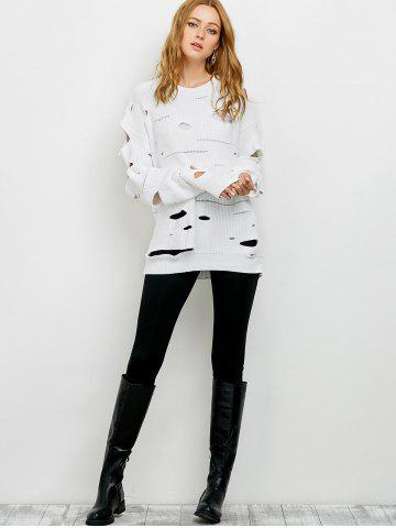 Outfits Crew Neck Cut Out Sweater - M WHITE Mobile