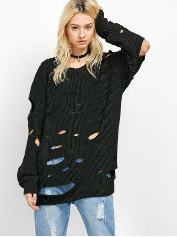 Chic Crew Neck Cut Out Sweater - XL BLACK Mobile