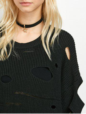 Discount Crew Neck Cut Out Sweater - M BLACK Mobile