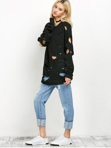 Online Crew Neck Cut Out Sweater - M BLACK Mobile