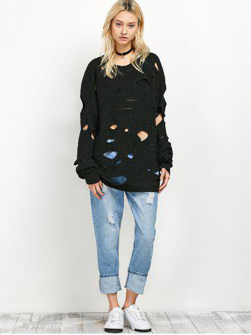 Outfit Crew Neck Cut Out Sweater - M BLACK Mobile