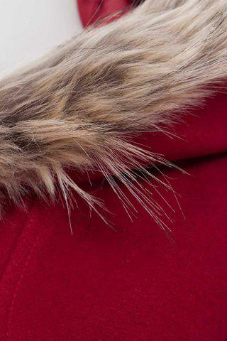 Discount Hooded Woollen Blend A Line Coat - XL RED Mobile