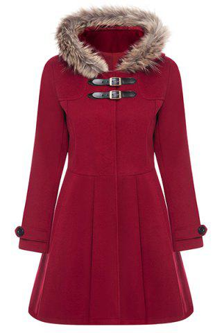 New Hooded Woollen Blend A Line Coat - M RED Mobile