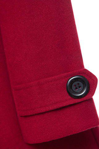 Affordable Hooded Woollen Blend A Line Coat - M RED Mobile