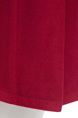 Store Hooded Woollen Blend A Line Coat - M RED Mobile