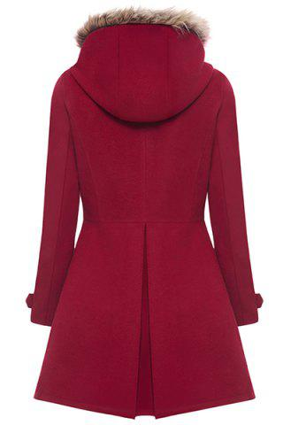Trendy Hooded Woollen Blend A Line Coat - M RED Mobile