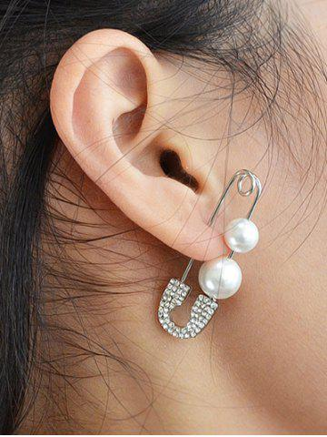 Discount ONE PIECE Rhinestone Faux Pearl Pin Earring SILVER