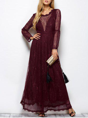 Chic Lace Long Sleeve Mesh Maxi Evening Dress WINE RED 2XL