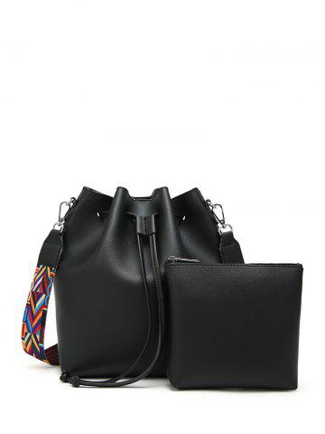 Chic Colored Strap Bucket Bag and Coin Purse