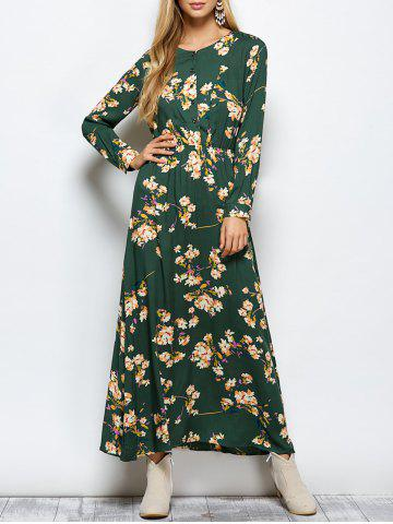 Floral Print Maxi Boho Dress with Long Sleeve - Green - M