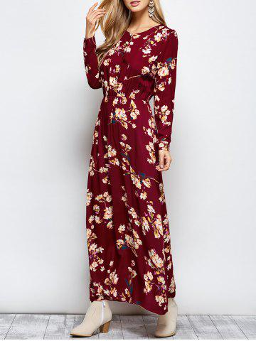 Chic Floral Print Maxi Boho Dress with Long Sleeve WINE RED L