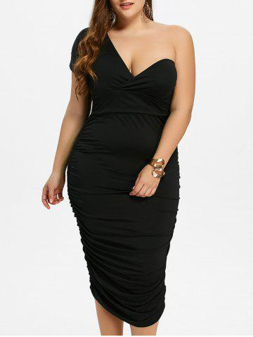 Unique One Shoulder Bodycon Prom Plus Size Cocktail Bandage Dress BLACK 3XL