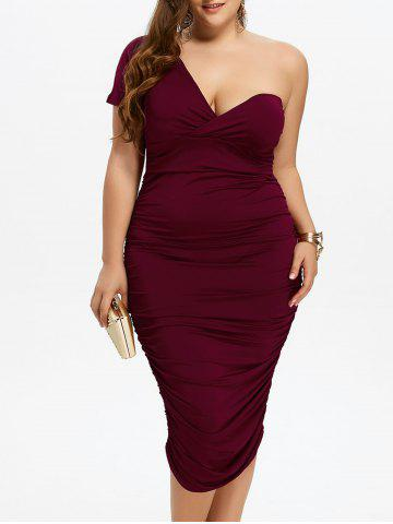 New One Shoulder Bodycon Prom Plus Size Cocktail Bandage Dress WINE RED 3XL