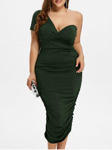 Buy One Shoulder Bodycon Prom Plus Size Cocktail Bandage Dress GREEN 2XL