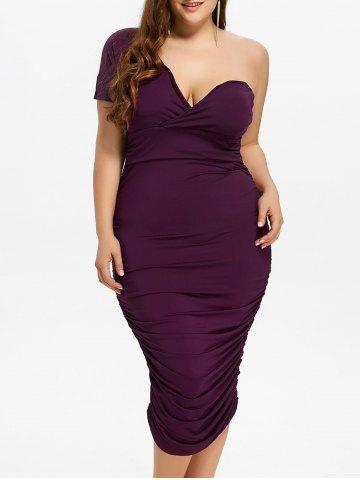 One Shoulder Bodycon Prom Plus Size Cocktail Bandage Dress - Purple - 3xl