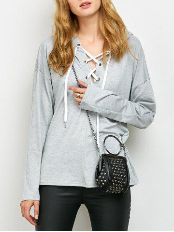 Buy Lace Up Long Sleeve Hooded T Shirt GRAY XL