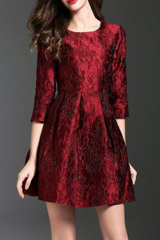 Chic Jacquard Flare Mini Dress DEEP RED L
