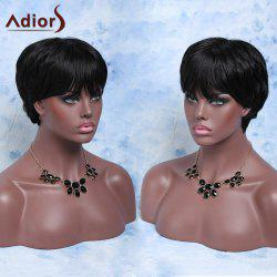 Short Straight Fluffy Side Bang Synthetic Wig