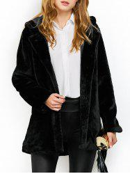 Hooded Fuzzy Faux Fur Coat -