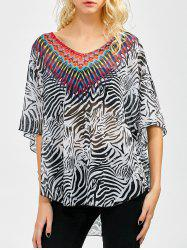 Chiffon Asymmetrical Dolman Sleeve Printed Blouse - BLACK WHITE ONE SIZE(FIT SIZE XS TO M)