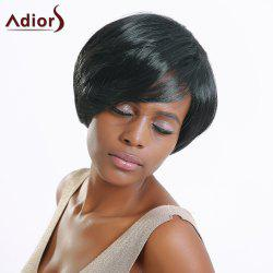 Fashion Full Bang Short Haircut Capless Straight Black Synthetic Wig For Women -