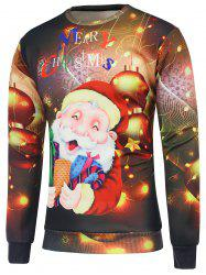 Christmas Santa Claus Printed Crew Neck Sweatshirt - BROWN M