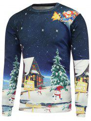 Christmas Cartoon Printed Crew Neck Sweatshirt - DEEP BLUE