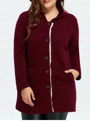 Button Up Lacework Hooded Coat