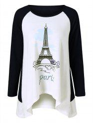 Eiffel Tower Print T-Shirt - WHITE AND BLACK M