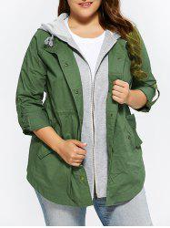 Plus Size Curved Hem Hooded Coat -