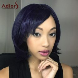Adiors Short Shaggy Straight Oblique Bang Synthetic Wig