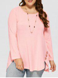 Plus Size Button Decorated High Low T-Shirt