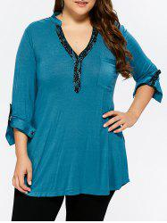 Plus Size Lace Trim Back Slit T-Shirt -