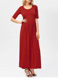Half Sleeve High Waist Pleated Maxi Dress -