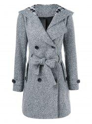 Hooded Long Wrap Belted Double Breasted Coat - GRAY