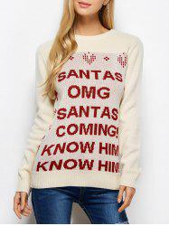 Crew Neck Letter Christmas Sweater -