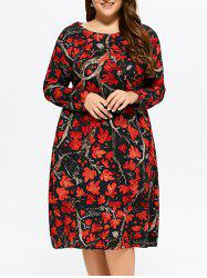 Plus Size Maple Print Baggy Dress