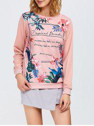 Floral and Letter Print Sweatshirt